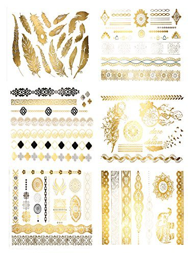 Premium Metallic Tattoos - 75+ Gold, Silver, Black Shimmer Designs. Temporary Fake Jewelry Tattoos By Terra Tattoos (Harmony Collection) by Terra Tattoos