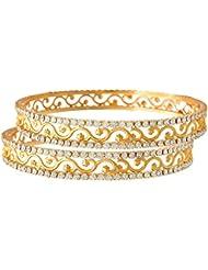 JFL - White Austrian Diamond One Gram Gold Plated Designer Bangle Set For Girls And Women.