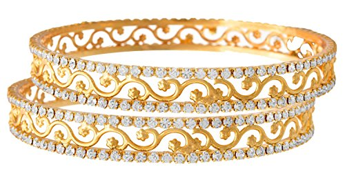 Jfl - Jewellery For Less White Gold-Plated One Gram Gold Plated Bangle Set For Women/Girls
