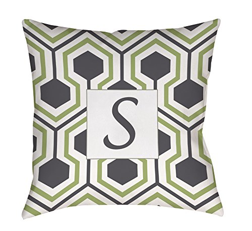 Thumbprintz Square Throw Pillow, 14-Inch, Monogrammed Letter S, Grey Honeycomb front-432553