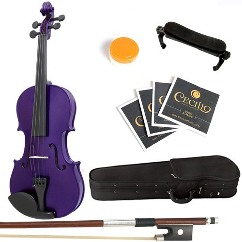 Mendini 4/4 MV-Purple Solid Wood Violin with Hard Case, Shoulder Rest, Bow, Rosin and Extra Strings (Full Size) (Full Violins compare prices)
