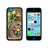 MSD Apple iPhone 5C Aluminum Plate Bumper Snap Case Easter nest with many colored hen s eggs tulip hyacinth and pussy willow on old wooden board 36010340