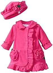 Bonnie Baby-girls Newborn Ruffle Fleece Coat And Hat Set (6 with Bracelet for Mom)