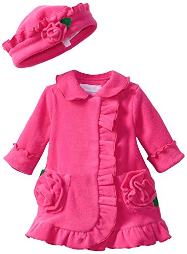 Bonnie Baby-Girls Newborn Ruffle Fleece Coat And Hat Set (6X With Bracelet For Mom) back-1085980