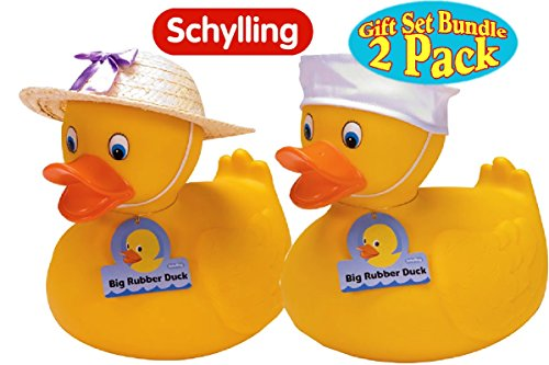 [Schylling Large Rubber Ducks Straw Hat (Girl) & Sailor Hat (Boy) Twin Pack Gift Set Bundle - 2 Pack] (Sailor Straw Hat)