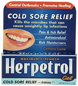 Herpetrol Cold Sore Relief Gel, Maximum Strength, 0.25 Ounce
