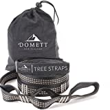Domett Hammock Tree Straps, Adjustable and Stretch-Free Suspension Kit, 2 Carabiners and Rope Included