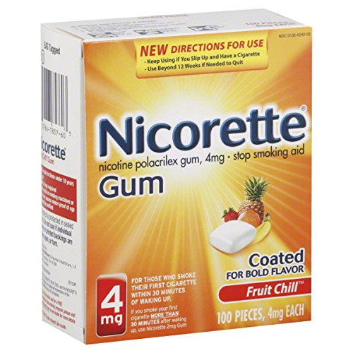La gomme Nicorette 100-pk. - Fruits (4 mg)