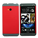 Heartly Double Dip Flip Hard Shell Premium Bumper Back Case Cover For HTC One 802D 802T 802W - Grey Red Grey