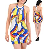 Sexy Stretch Multi Color Halter Mini Dress
