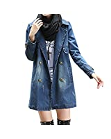 Hee Grand Femme Blouson Trench Double Boutonnage Denim