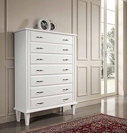 Settimino cassettiera larga in legno - Bianco