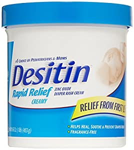 Desitin Diaper Rash Cream Rapid Relief, 16-Ounce Jar