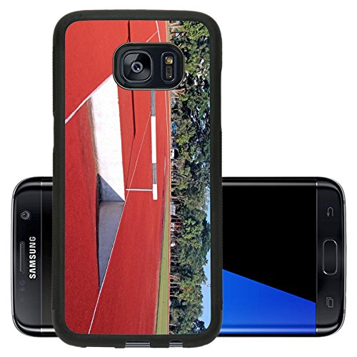 Luxlady Premium Samsung Galaxy S7 Edge Aluminum Backplate Bumper Snap Case IMAGE ID: 34525964 Hurdles fence on red running tracks