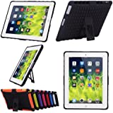 Hybrid Colors Combo Cases 2 in 1 Dual Defender Snap-on Back Case with Built-in Kickstand for Apple iPad 2/3/4, Black - PT7100