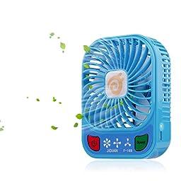 D-FantiX 4-inch Portable Fan 3 Speeds Mini USB Fan Rechargeable Desktop Fan Handheld Fan Battery Operated with LED Light (Blue)
