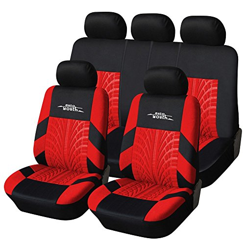 AUTOYOUTH Full Set Seat Covers for Cars, Trucks, SUV Universal Fit Car Seat Protectors Tire Tracks Car Seat Accessories - 9PCS, Black/Red (Seat Track compare prices)
