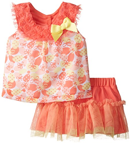 Little Lass Baby Girls' Printed Chiffon Rosette Tulle Scooter Set, Coral, 18 Months