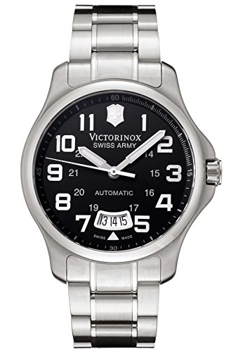 Victorinox Swiss Army - Reloj analógico automático para hombre con correa de acero inoxidable, color plateado