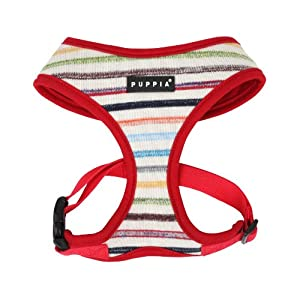 PUPPIA Authentic Watercolor Harness-A for Pets, Large, Red