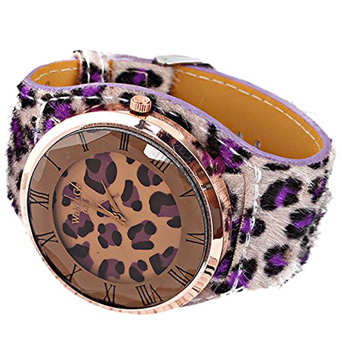 Oversized Women'S Leopard-Print Leatheroid Strap Wrist Watch Purple