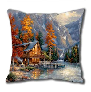Illustration Painting On The Edge Standard Size Design Square Pillowcase/Cotton Pillowcase with Invisible Zipper in 40*40CM 16*16(527)-527068 by Square Pillowcase