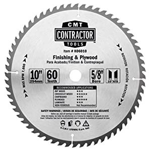 CMT K06010 ITK Contractor Finish & Plywood Saw Blade, 10 x 60 Teeth, 10° ATB with 5/8-Inch bore