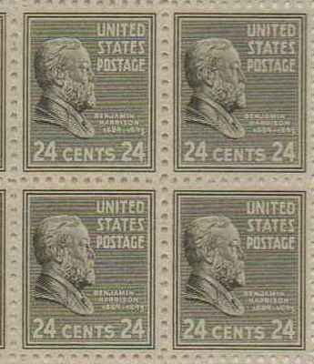 Benjamin Harrison Set of 4 x 24 Cent US Postage Stamps NEW Scot 828