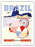 Rio de Janeiro Brazil - Braniff International Airways - Vintage Airline Travel Poster c.1950s - Master Art Print - 9in x 12in