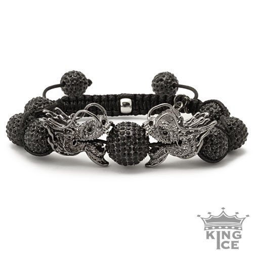 All Black Everything Dragon Disco Ball Hip Hop Bracelet
