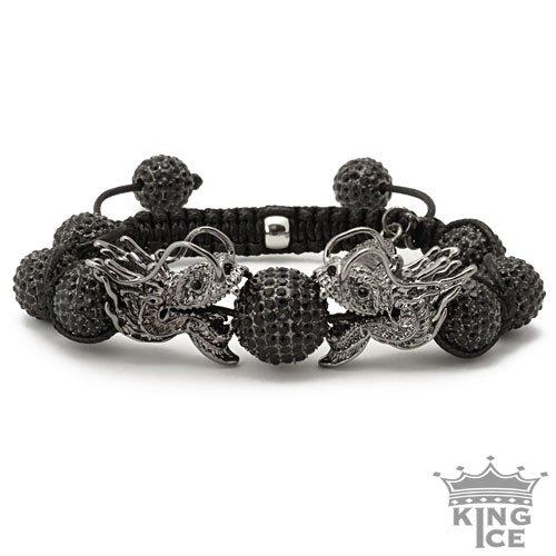 All Black Everything Dragon Disco Ball Hip Hop Bracelet
