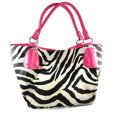 Black Large Vicky Zebra Print Faux Leather Satchel Bag Handbag Purse Pink