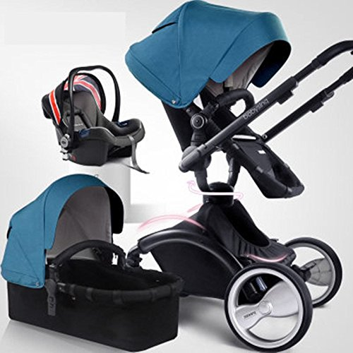 3-in-1Standard-StrollerSeparate-Sleeping-BasketSafety-Car-Seat-Suspension-High-view-Detachable-Washable-Folding-Baby-Stroller-for-Baby-Sit-or-Lie-down-blue