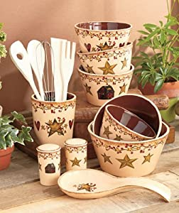 amazon com country home collection serving bowl crock