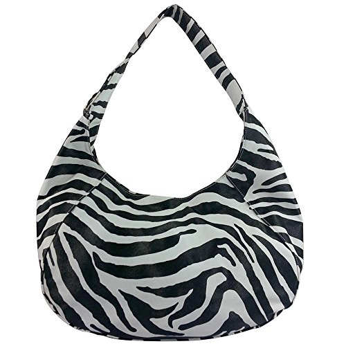 FASH Limited© Zebra Print Large Everyday Slouchy Hobo Shoulder Bag - High Quality Faux Leather