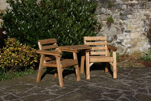 Solid Wood Garden Furniture Patio Set Love Seat Table