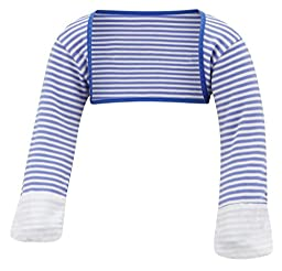 ScratchSleeves | Baby Boys\' Stay-On Scratch Mitts Stripes | Blue and Cream | 18 to 21 Months