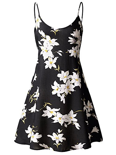 MsBasic Women's Sleeveless Adjustable Strappy Summer Swing Dress Large MS6216-4