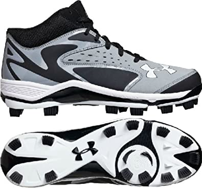 Buy Mens Under Armour Yard Mid TPU Molded Baseball Cleats Grey Black by Under Armour