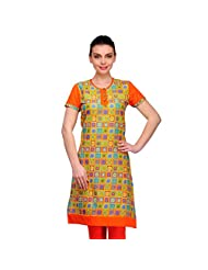 Inborn Orange Block Printed Cotton Kurti For Women