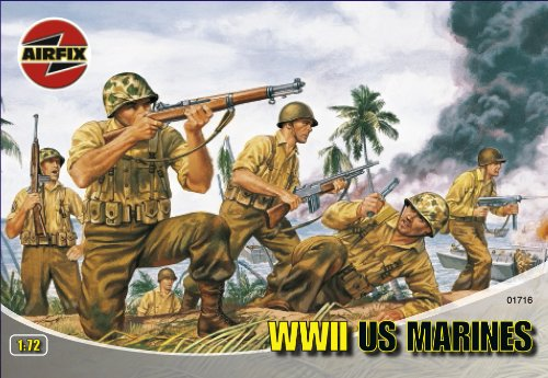 Buy Low Price Hornby Airfix A01716 1:72 Scale WWII US Marines Figures Classic Kit Series 1 (B0002HZVPU)