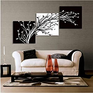 Abstract the black and white flowers decorative painting plum is the wind canvas modern art of three piece