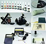 Complete Tattoo Kit Machine Gun 11 Color (Double Black) Inks + Needles + Power Supply (T2)