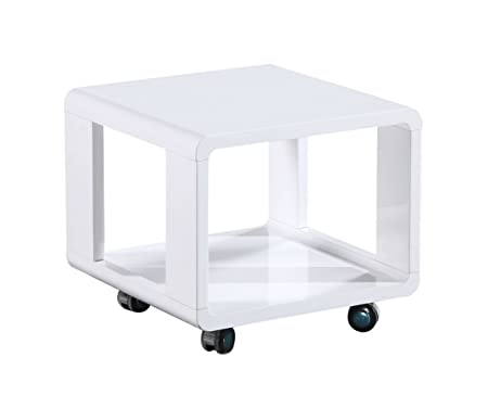 Couchtisch Dakoro 16, Farbe: Weiß Hochglanz - Abmessungen: 40 x 45 x 45 cm (H x B x T)