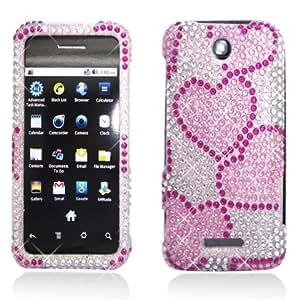 Aimo Wireless ZTEX500MPCDI072 Bling Brilliance Premium Grade Diamond Case for ZTE Score M X500 - Retail Packaging - Hearts