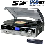 Steepletone Record Player Turntable + MP3 Recording & Playback (ST929r 2014 Model) - Remote Control - Stand Alone Music Player - Audio Built In Amplifier & Stereo Speakers - Black / Silver