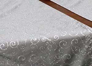 Silver Satin Table Runner with Silver Glitter Swirls