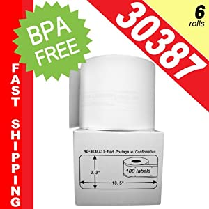 """DYMO-Compatible 30387 3-Part Internet Postage Labels (2-5/16"""" x 10-1/2"""") -- BPA Free! (6 Rolls; 100 Labels per Roll)"""