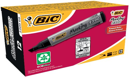 bic-marking-2300-permanent-marker-chisel-tip-black-box-of-12