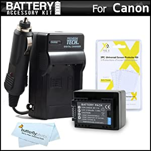 Battery And Charger Kit For Canon VIXIA HF R52, R50, R500, R42, R40, R400 Camcorder Includes Extended Replacement (2100Mah) BP-718 Battery + Ac/Dc Charger ++ (Replaces Canon BP-709, BP-718,BP-727) Made with info-chip, WILL SHOW TIME ON CAMERAS VIEWFINDER